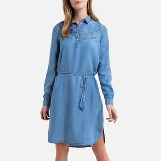 Kaporal Denim Mini Shirt Dress with Tie-Waist and Long Sleeves