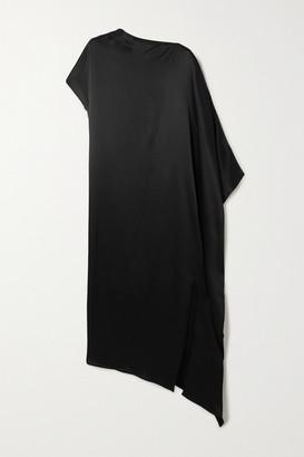 ENVELOPE1976 Net Sustain Dali Asymmetric Satin Maxi Dress - Black