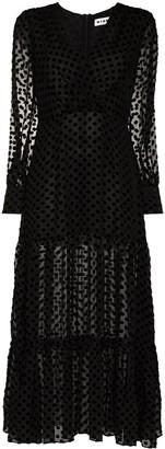 Rixo Sheer Polka Dot Midi Dress