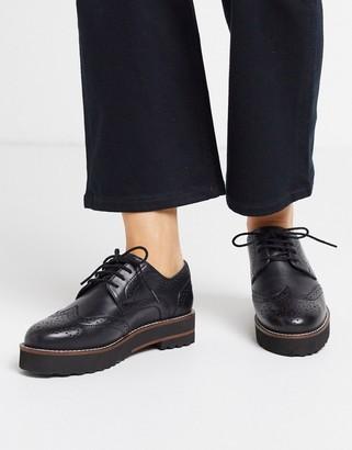 Asos DESIGN Mottle leather flat brogues in black
