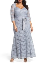 Alex Evenings Plus Size Women's Metallic Lace Fit & Flare Gown