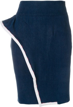Moschino Pre Owned Wavy Detail Pencil Skirt