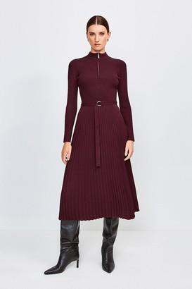 Karen Millen Long Sleeve Zip Turtle Neck Pleated Skirt Dress