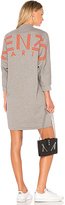 Kenzo V Neck Sweatshirt Dress in Gray