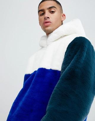 Asos DESIGN faux fur overhead jacket in color block