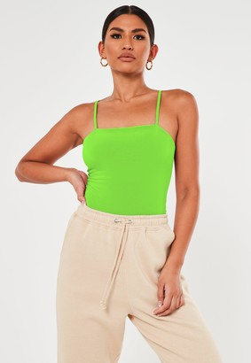 Missguided Green Seam Free Straight Neck Bodysuit