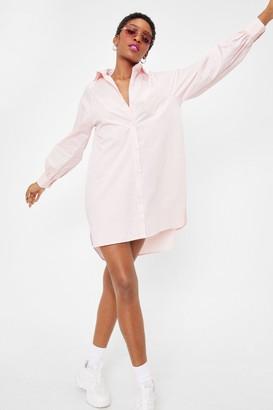Nasty Gal Womens Give It Back to Hem Oversized Shirt Dress - Baby Pink