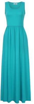 Lintimes Women's Casual Round Neck Sleeveless Pocket Ruched Summer Swing Maxi Dress Mint S