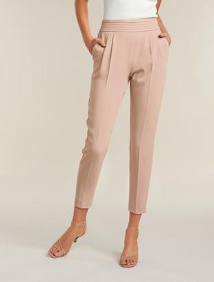 Forever New Zoe Petite Pleated Elastic-Back Pants - Blush - 10