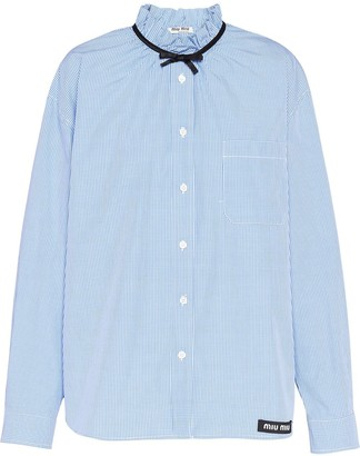 Miu Miu bow detail gingham shirt