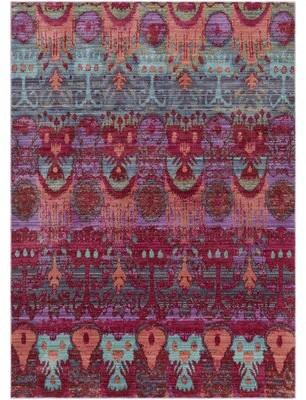 Bungalow Rose Almaraz Ikat Wool Bright Pink/Mint Area Rug