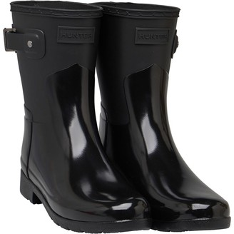 Hunter Womens Short Gloss Duo Wellington Boots Black