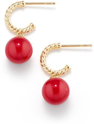 David Yurman Solari Hoop Earrings with 18K Gold and Red Enamel