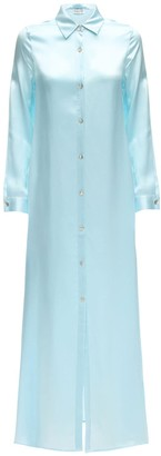 Aya Muse Sicily Maxi Silk Button Down Shirt Dress