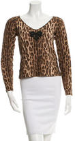 Blumarine Printed Embroidered Long Sleeve Top