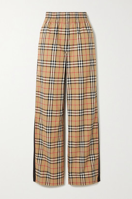Burberry Striped Checked Cotton-blend Wide-leg Pants - Beige