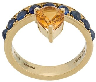 Dubini 18kt yellow gold, sapphire and citrine Theodora Tear ring
