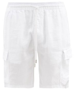 Vilebrequin Logo-patch Slubbed-linen Cargo Shorts - Mens - White