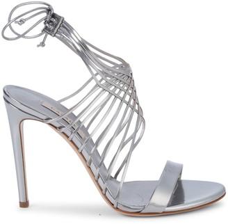 Casadei Metallic Leather Multi-Strap Lace-Up Sandals