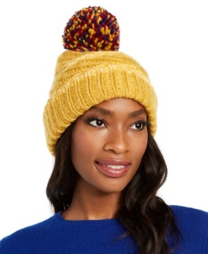 INC International Concepts Inc Chenille Striped Multi-Pom Beanie, Created for Macy's