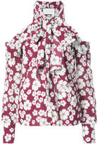 Alexis floral print halterneck dropped shoulders top