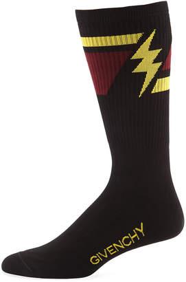 Givenchy Men's Geometric Lightning Bolt Socks