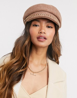 ASOS DESIGN newsboy cap in camel with chain detail
