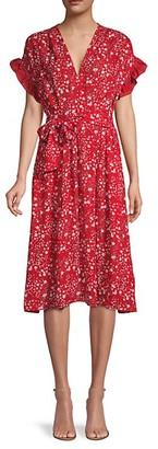Max Studio Ruffle-Sleeve Floral Dress