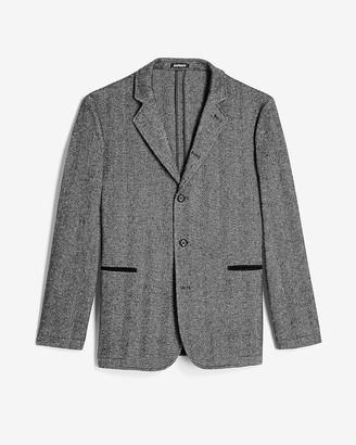 Express Charcoal Herringbone Convertible Jacket