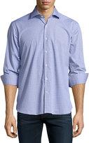 Neiman Marcus Dobby Long-Sleeve Cotton Shirt, Ocean