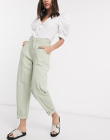 Bershka elasticated waist slouchy pant in khaki