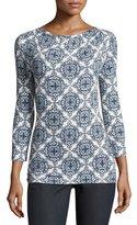 St. John Mandala-Print Jersey Bateau-Neck Top, White/Multi