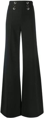 Elisabetta Franchi Button-Embellished Wide-Leg Trousers