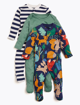 Marks and Spencer 3pk Organic Cotton Forest Sleepsuits (6lbs-3 Yrs)