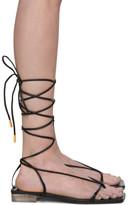 Versace Black Leather Strap Flat Sandals