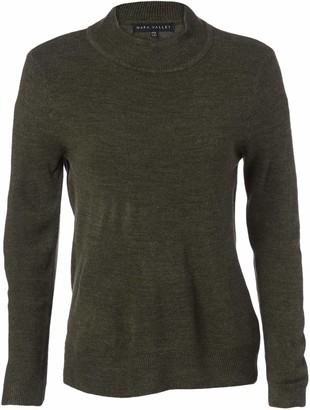 Napa Valley Women's Petite Cashmerlon Long Sleeve Mock Neck Pullover