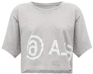 MM6 MAISON MARGIELA Logo-print Cropped Cotton-jersey T-shirt - Womens - Grey