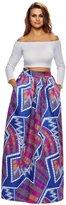 Roswear Women's African Print A-line Maxi Skirt Flared Skirt