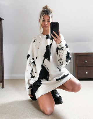 Weekday Liza mini sweatshirt dress in multi
