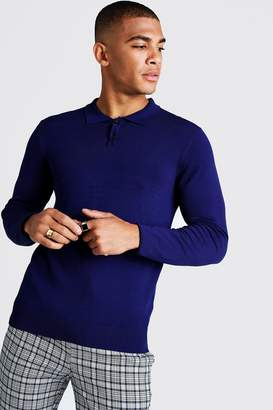 boohoo Muscle Fit Fine Knit Polo With Long Sleeves