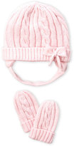 Laura Ashley Infant Girls) Pink Cable Knit Hat & Mittens Set
