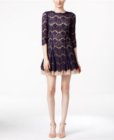 Betsy & Adam Open-Back Lace Cocktail Dress