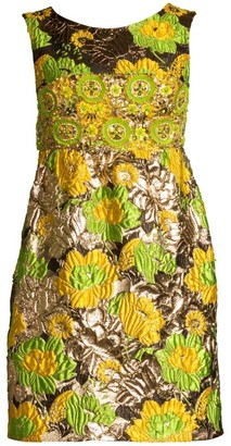 Michael Kors Jeweled Jacquard Empire Waist Dress