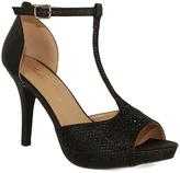 Fashion Focus Black Tara T-Strap Peep-Toe Pump