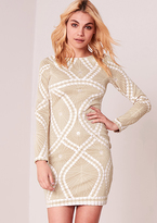 Missy Empire Jaime Beige Bodycon Lace Up Print Dress