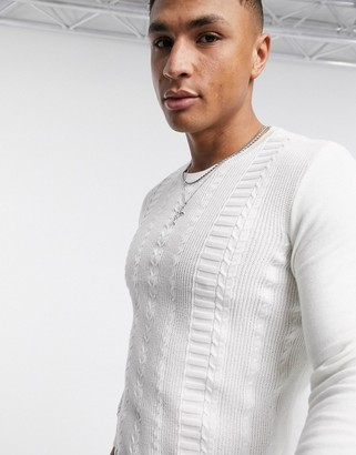 New Look long sleeve muscle cotton cable sweater in white