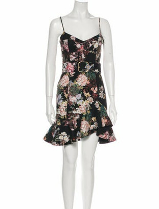 Nicholas Floral Print Mini Dress Black