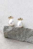 LuLu*s Fancy Fruit Gold and Pearl Pineapple Earrings