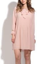 Light Pink Ascot-Accent Shift Dress