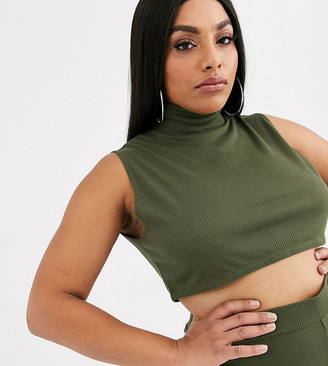 Lasula Plus lounge high neck sleeveless crop top co ord in khaki
